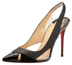 Christian Louboutin Leather Stiletto Patent Patent Leather Pointed Toe Cut Out Slingback Air Chance Air Chance Clear Pvc Black Pumps