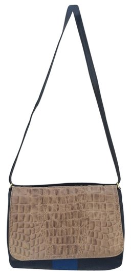 Clare V. Leather Crocodile Bold Stripe Adjustable Shoulder Bag