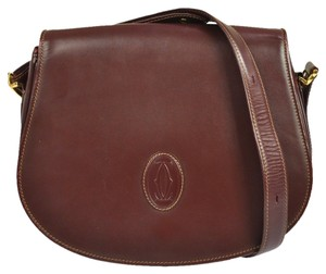 Cartier Must De Bordeux Leather Brown Cross Body Bag