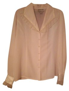 Brownstone Studio Dressy Blouse Elegant Button Down Shirt Ivory
