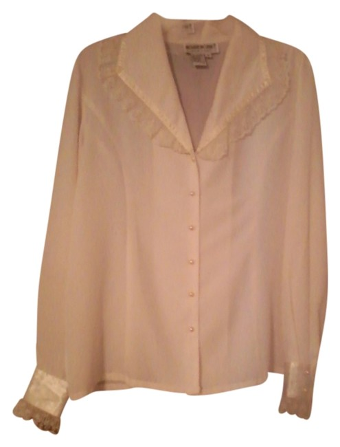 Brownstone Studio Dressy Blouse Elegant Fancy Blouse Button Down Shirt Ivory