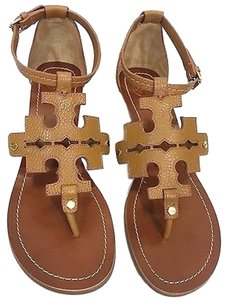 c98d136bdfaf Tory Burch Sandals Size 10 Logo Leather Pebbled Leather Royal Tan Wedges