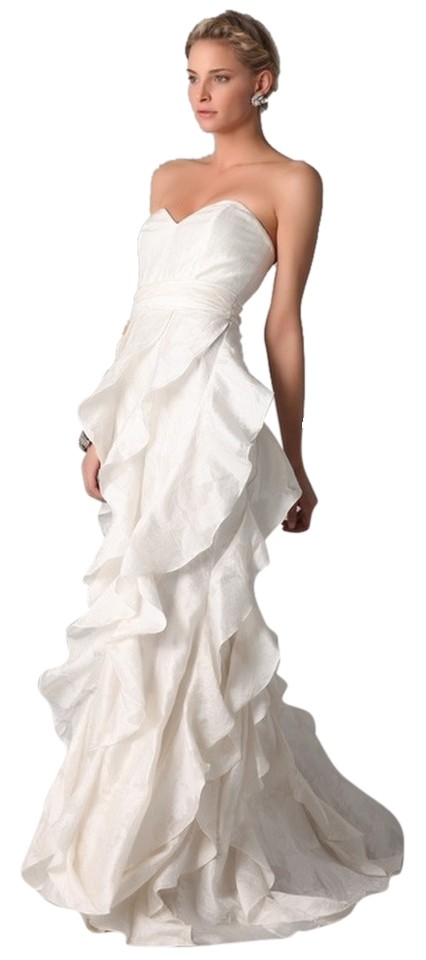Badgley Mischka Ivory White Strapless Gown with Ruffle Long Formal ...