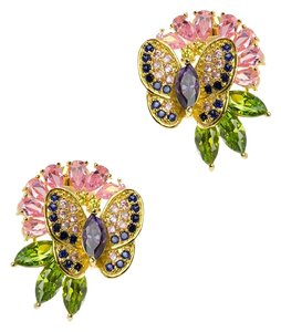 Kenneth Jay Lane CZ by Kenneth Jay Lane 8 Cttw Multi CZ Butterfly & Floral Earrings