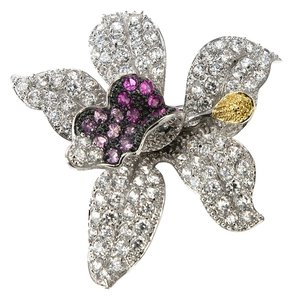 Kenneth Jay Lane CZ by Kenneth Jay Lane 12 Cttw CZ Orchid Brooch