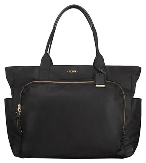 Item - Voyager Mansion Carry-all Unused Goldtone Hardware Paid Black Nylon Tote