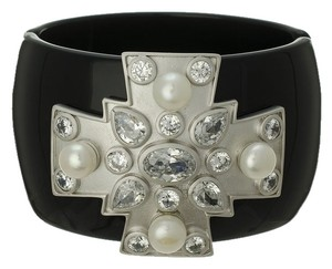 Kenneth Jay Lane CZ by Kenneth Jay Lane Maltese Cross CZ & Freshwater Pearl Hinged Bangle Bracelet