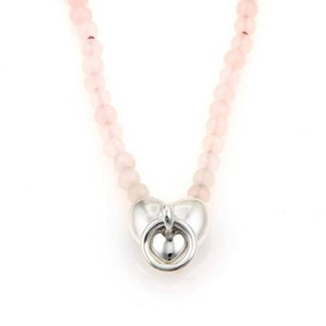 Tiffany & Co. Tiffany Co. Sterling Silver Pink Crystal Bead Strand Heart Pendant Necklace