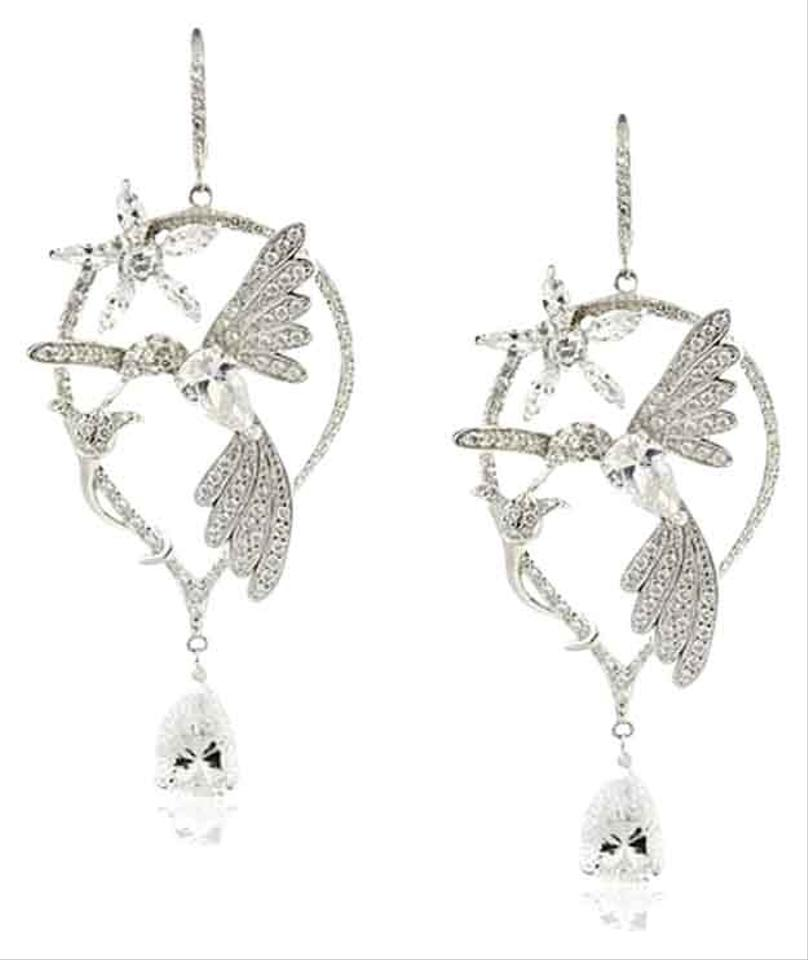 Kenneth Jay Lane Cz By Delicate Cubic Zirconia Hummingbird Earrings