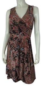 Ralph Lauren Petite short dress Brown Multicolor Paisley Stretch Faux Wrap New on Tradesy