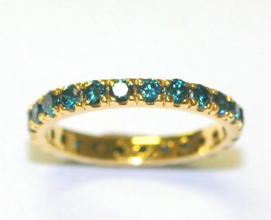 Green Yellow Diamoind Eternity Women's Wedding Bands