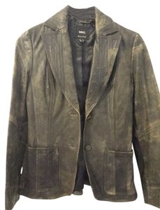 Mango Vintage Distressed Genuine Leather Edgy Black Brown Blazer