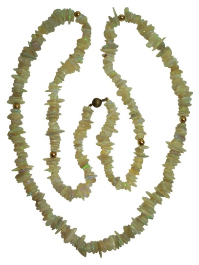 Other Opal Chip 36 Inch Necklace with SS Bead and 6 14K YG Beads