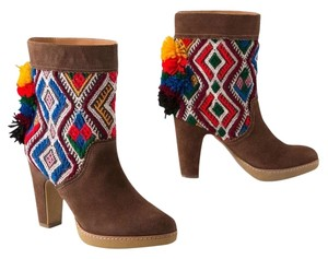 Anthropologie Jasper And Jeera Suede Boho Red, white, brown, yellow, multi color Boots