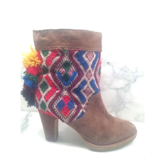 Anthropologie Jasper And Jeera Suede Boho Bohemian Festival Red, white, brown, yellow, multi color Boots