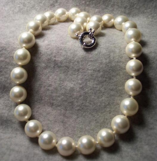 12mm Strand Glass Faux White Pearl 19 Inch Necklace