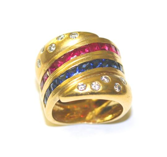 Americana Flag Colors Diamond Ring Other