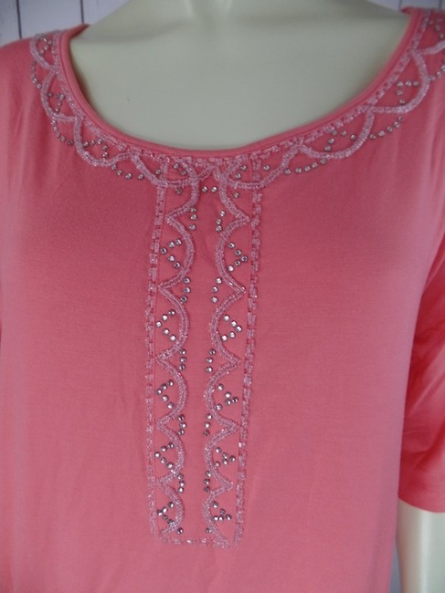 Simply Chloe Dao New Without Tags Medium Beads Rhinestones Sequins Rayon Spandex Stretch Knit Dolman Sleeves Top Peach