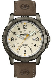Timex Timex T49990 Men's Brown Analog Watch With Beige Dial