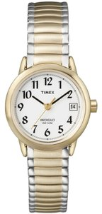 Timex Timex T2H381 Women's Gold Analog Watch With White Dial