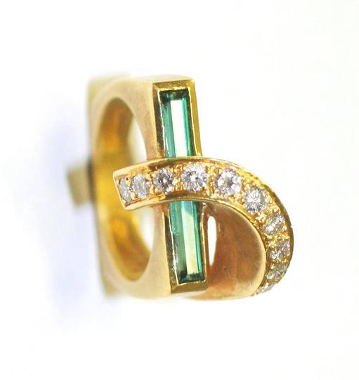 Yellow Fashion Green Tourmaline Diamond Ring