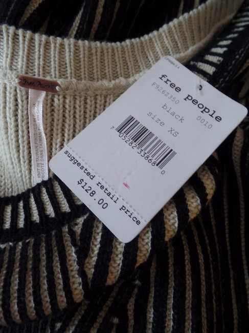 Free People short dress Black & Beige New With Tags Pullover Cotton Thick Ribbed Sweater Striped Cap Sleeves Anthropologie on Tradesy
