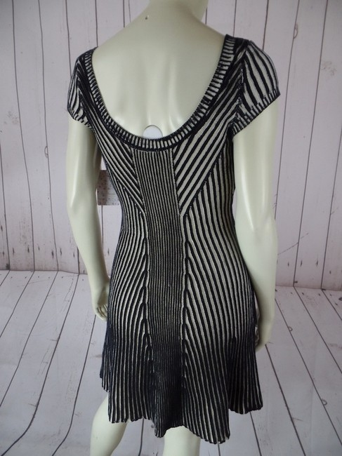 Free People short dress Beige & Black New With Tags Anthropologie Cotton Striped Thick Ribbed Sweater Pullover Cap Sleeves Xs on Tradesy