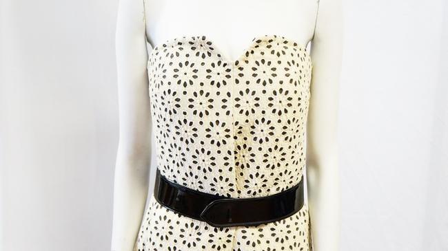 Carolina Herrera New Strapless Belted Floral Textured Laser Cut 8 Medium Patent Leather Dress