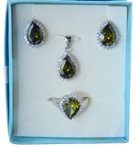 Other AUGUST BIRTHDAYS!!!!! PEAR RING, PENDANT & EARRING MEDIUM SET w/CZs AROUND - PERIDOT COLOR
