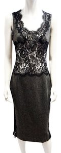 Dolce&Gabbana Dolce & Gabbana Charcoal Gray Herringbone Wool Lace Panel Midi Pencil 6 Small Dress
