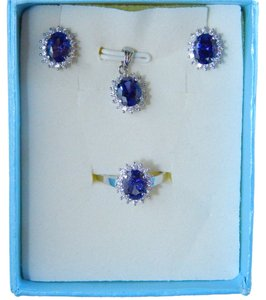 OVAL RING, PENDANT & EARRING SMALL SET w/CZs AROUND - TANZANITE COLOR
