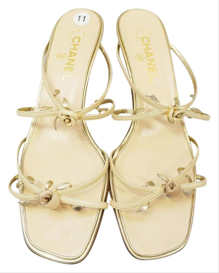 4624c0d5e5273c Chanel Gold New Leather Us10.5 Rose Bud Nude Strappy Sandals Size EU ...