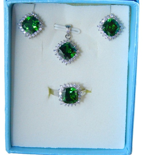 Other CUSHION RING, PENDANT & EARRING SMALL SET w/CZs AROUND - EMERALD COLOR