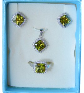 AUGUST BIRTHDAYS!!!!! CUSHION RING, PENDANT & EARRING SMALL SET w/CZs AROUND - PERIDOT COLOR