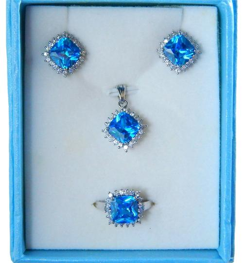 Other BLUE TOPAZ CUSHION RING, PENDANT & EARRING SMALL SET
