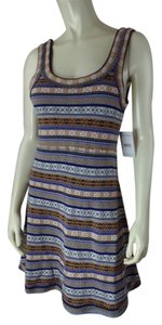 Free People short dress Multicolor Nordic Print New With Tags Sleeveless Acrylic Wool Blend Pullover Small Sweater Knit Raw Edges Boho Thin Knit on Tradesy