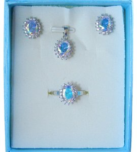 SEA MIST/GLACIER OVAL RING, PENDANT & EARRING SMALL SET w/CZs