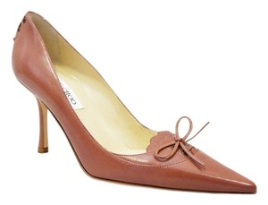 Jimmy Choo Laced Bow Brown Pumps
