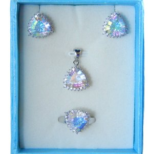 TRILLION RING, PENDANT & EARRING MEDIUM SET w/CZs AROUND - SEA MIST/GLACIER ICE COLOR