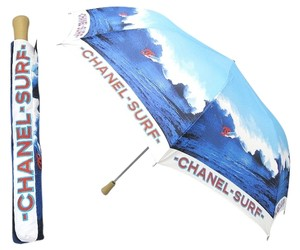 Chanel CHANEL CC SURF RESORT BLUE RED FOLDING COMPACT LARGE UMBRELLA SUN BEACH PARASOL