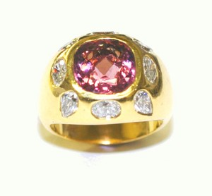 Yellow Chanel Style Special For Holiday's Sexy Pink Tourmaline Diamond Ring