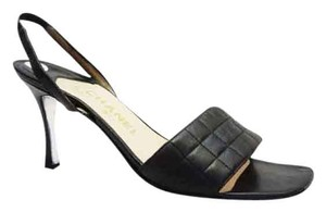 Chanel Quilted Square Open Toe Black Sandals