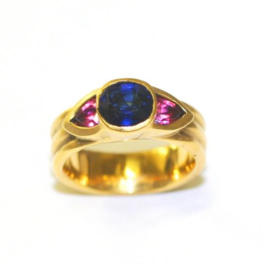 Ella Bridals Yellow Pink Tuormaline Sapphire Gold Ring Image 1