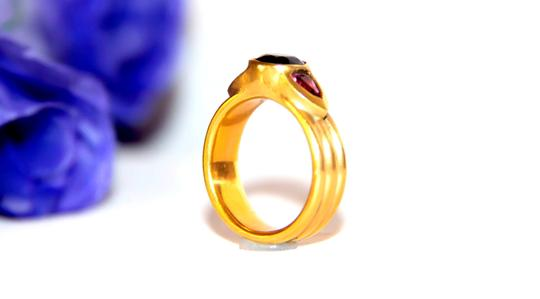 Ella Bridals Yellow Pink Tuormaline Sapphire Gold Ring Image 6