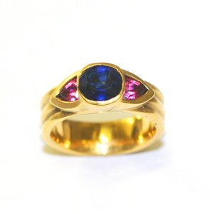 Ella Bridals Yellow Pink Tuormaline Sapphire Gold Ring