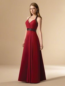 Alfred Angelo Claret / Chocolate Brown Satin / Chiffon Style 6545 Formal Bridesmaid/Mob Dress Size 14 (L)