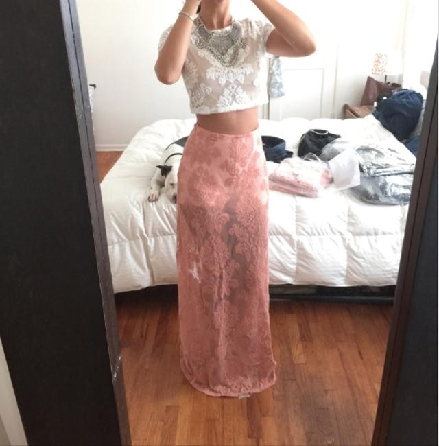 Honey Punch Lace Floral Lace Full Length Marissa Nasty Gal Lace Nasty Gal For Love And Lemons Boho Chic Maxi Skirt Desert Rose Pink