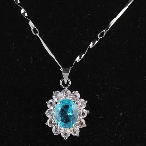 Stunning Blue Topaz White Gold Filled Necklace Free Shipping