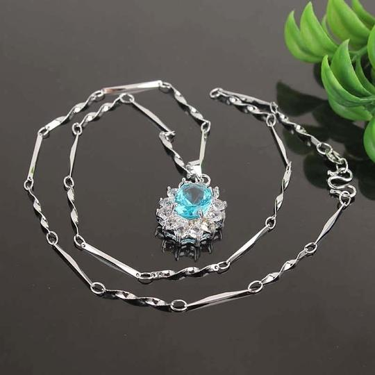 Silver Blue White Buy One Get One Free Topaz Free Shipping Necklace