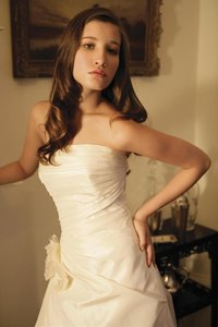 Augusta Jones Light Ivory White Silk Organza Anushka X Strapless Aline Ruched Classic Elegant Sexy Wedding Dress Size 8 (M)